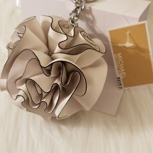 Michael Kors Accessories - NWT Michael Kors Leather Flower Ruffle Pom Pom
